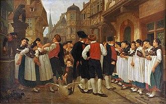 Hiring and mop fairs - La foire aux servantes; by Charles-François Marchal, 1864 (the fair shown was at Bouxwiller, Alsace)