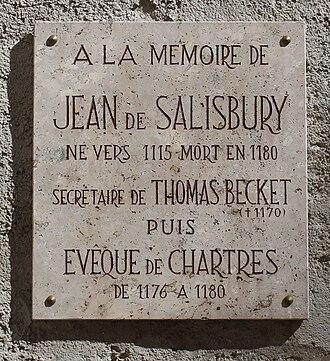 John of Salisbury - Memorial plaque in Chartres