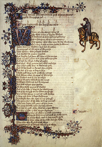 The Knight's Tale - The first page of Knight's Tale in the Ellesmere manuscript