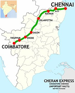 Cheran Express (MAS - CBE) Route map.jpg