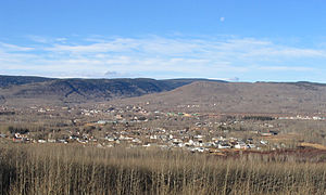 Chetwynd, British Columbia - The townsite of Chetwynd in the foothills of the Rocky Mountains