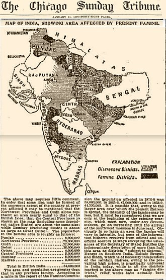 Indian famine of 1896–97 - Map from Chicago Sunday Tribune, January 31, 1897, showing the areas in India affected by the famine.