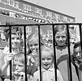 Children near block of flats, Corpus Christi feast-day, Coleraine Street, Dublin (33878949081).jpg