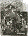 Chinggis Khan assigning lands to his four sons. Illustration from the 16th century Ta'rikh-i guzida-i Nusratnama, British Library, London..jpg