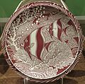 Chop plate in 'Coral Reef' pattern, Vernon Kilns, designed by Don Blanding, 1940s, private collection.JPG