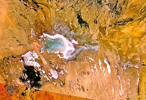 Chott Melrhir - View from space. Note that most of the lake is already dried up in this picture.