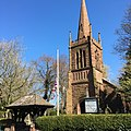 Christ Church, Eccleston with flag at half-mast.jpg