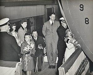 Homer N. Wallin - Image: Christening of USS Kwajalein (CVE 98) with daughter Susan Ann, 4 May 1944