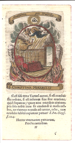Christina the Astonishing 1630 prayer card Fasti Mariani.png