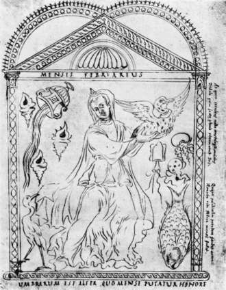 "Februarius - Drawing of the month of February (Mensis Februarius) based on the Calendar of Philocalus (354 AD), with a caption explaining that because the wandering Manes or souls of the dead can permeate the earth in this month, ""the shades"" (ghosts) are placated by commemorative honors"