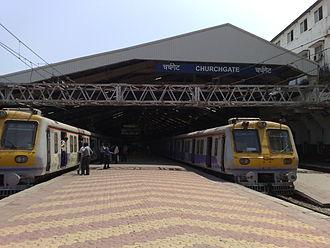 Churchgate railway station - Platforms extend beyond the canopy