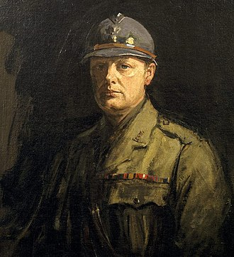 Adrian helmet - Lavery's portrait of Churchill wearing an Adrian helmet presented by General Fayolle.