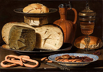 "Clara Peeters - Still Life with Cheeses, Almonds and Pretzels, c. 1615, with the ""signed knife"", and a reflection of the painter on the rim of the jug lid. Bought by the Mauritshuis in 2012"