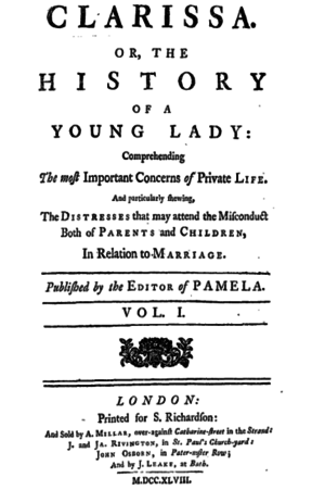 Clarissa - Image: Clarissa, or, the History of a Young Lady (title page)