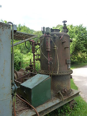 Thimble tube boiler - Image: Clarkson thumble tube boiler, burner side, Clearwell Caves