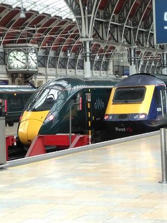 British Rail Class 802 - Image: Class 802 and Class 43 at London Paddington