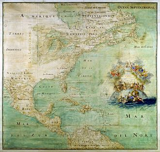 Médard des Groseilliers - 1681 French map of the New World above the equator: New France and the Great Lakes in the north, with a dark line as the Mississippi River to the west in the Illinois Country and the mouth of the river (and future New Orleans) then terra incognita