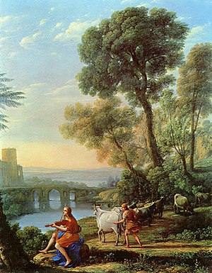 1645 in art - Landscape with Apollo and Mercury  by Claude.