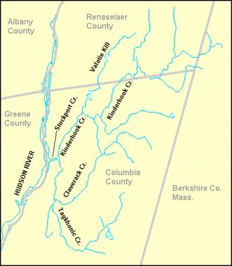 Claverack Creek - Main branches of Claverack Creek and Kinderhook Creek