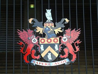 Metropolitan Borough of Oldham - Oldham council's coat of arms, seen here at the Civic Centre
