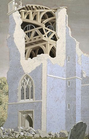 John Armstrong (artist) - Coggeshall Church, Essex, (1940), (Tate)