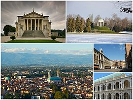 "A collage o Vicenza shawin: the Villa Capra ""La Rotonda"", the clessical temple in the Parco Querini, a panorama o the ceety frae the Monte Berico, the Piazza dei Signori an the Renaissance Basilica Palladiana."