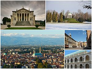"Vicenza - A collage of Vicenza showing: the Villa Capra ""La Rotonda"", the classical temple in the Parco Querini, a panorama of the city from the Monte Berico, the Piazza dei Signori and the Renaissance Basilica Palladiana."