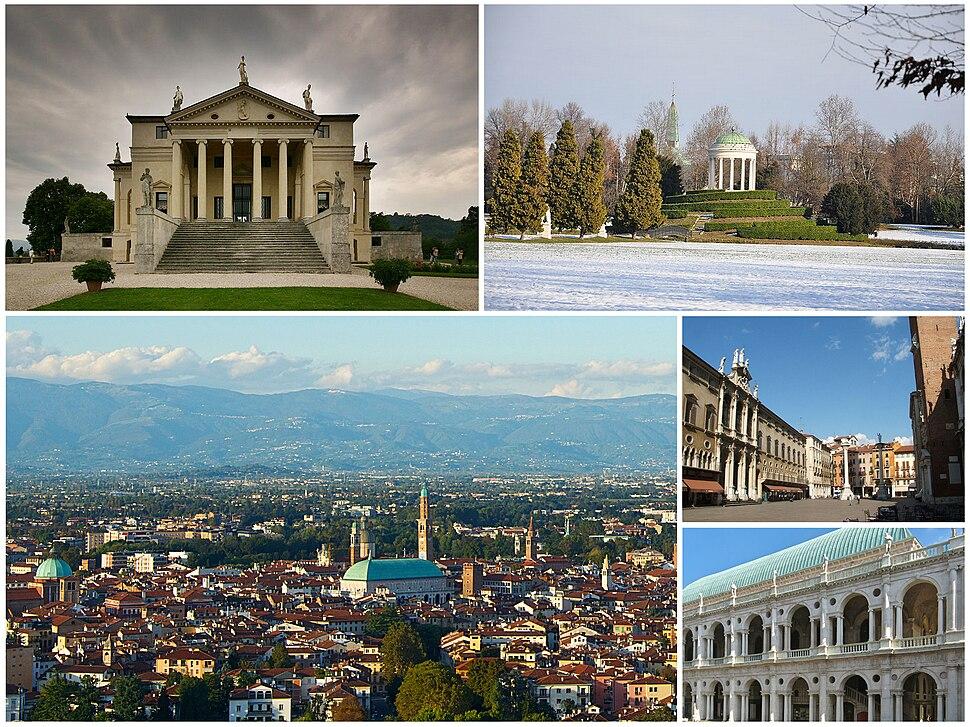 "A collage of Vicenza showing: the Villa Capra ""La Rotonda"", the classical temple in the Parco Querini, a panorama of the city from the Monte Berico, the Piazza dei Signori and the Renaissance Basilica Palladiana."