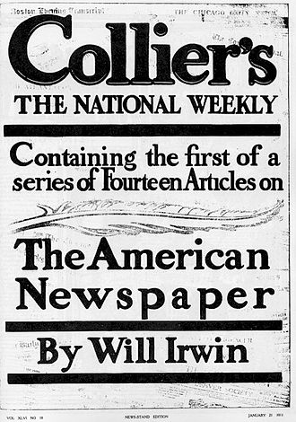 """William Henry Irwin - Cover of Collier's January 21, 1911, the first installment of Irwin's series """"The American Newspaper."""""""