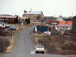 A westward view of downtown Naknek in the spring.