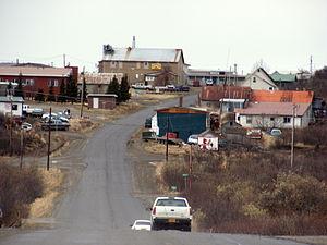 Naknek, Alaska - A westward view of downtown Naknek in the spring.
