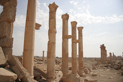 Columns in Palmyra aside the road
