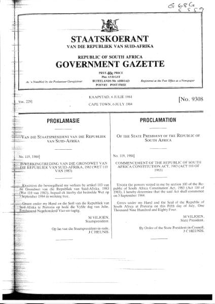 File:Commencement of the Republic of South Africa Constitution Act 1983.djvu