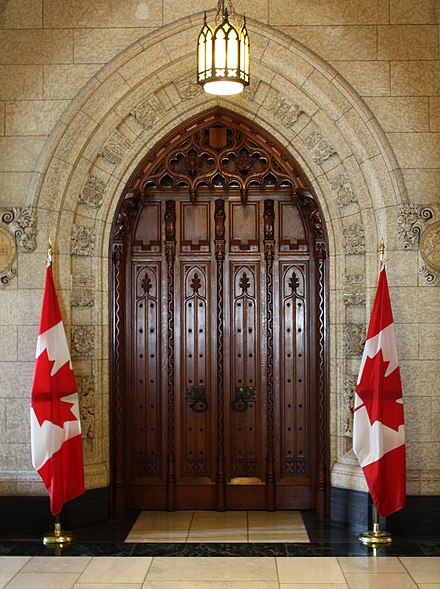 The main doorway into the chamber of the House of Commons Commons-doorway.jpg