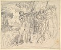 """Compositional Study for """"Comus–The Measure"""" (recto); Studies of a Man's Right Leg, after Titian, and a Profile, for """"Comus–The Measure"""" (verso) MET DP829491.jpg"""