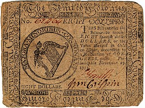Continental Currency $8 banknote obverse (November 29, 1775).jpg