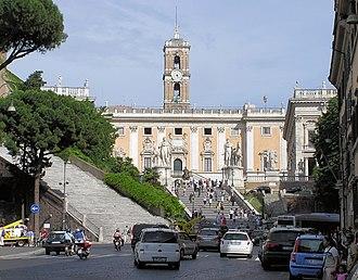 Cordonata - The Capitoline Hill cordonata in Rome (centre of picture) leading from Piazza di Ara Coeli to Piazza del Campidoglio