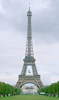 The Eiffel Tower in Paris decorated with a giant rugby ball for the 2007 Rugby World Cup.