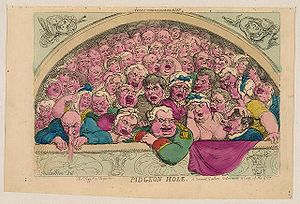 "Royal Opera House - A satirical drawing from 1811 of the ""Pigeon Holes"" that flanked the upper gallery at Covent Garden"