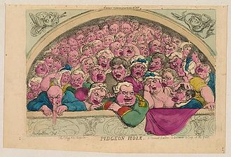 "Royal Opera House - Satirical drawing, 1811, of the ""Pigeon Holes"" that flanked the upper gallery at Covent Garden"