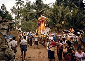 A cremation procession in Pejeng