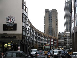 Golden Lane Estate - Crescent House, with the Barbican Estate in the background
