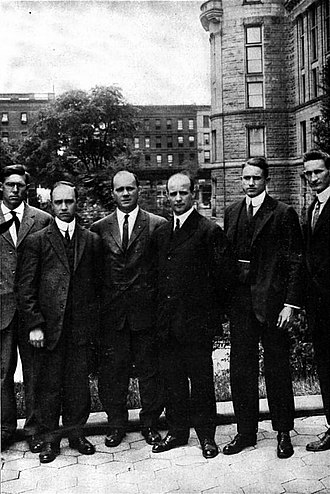 Crocker Land Expedition - Expedition members. From left to right: Harrison J. Hunt, Maurice C. Tanquary, W. Elmer Ekblaw, Donald B. MacMillan, Fitzhugh Green, and J. L. Allen.