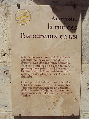 Shepherds' Crusade (1251) - Plaque commemorating the Shepherds' Crusade in Orléans.