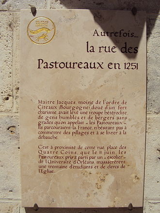 Shepherds' Crusade (1251) - Plaque commemorating the Shepherds' Crusade in Orléans