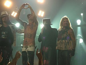 Tommy Lee - Mötley Crüe from left to right: Nikki Sixx, Lee, Mick Mars, and Vince Neil.