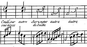 Slide (musical ornament) - Portion of a table of embellishments and their execution showing the coulé as a slur-like marking between notes -- from D'Anglebert's Pièces de Clavessin (1659)