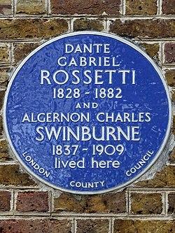 Dante gabriel rossetti 1828 1882 and algernon charles swinburne 1837 1909 lived here