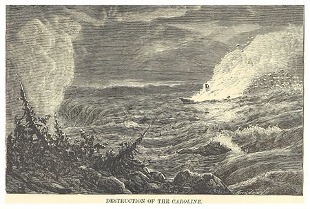 """Destruction of the Caroline"", illustration by John Charles Dent (1881) DENT(1881) 1.213 DESTRUCTION OF THE CAROLINE.jpg"