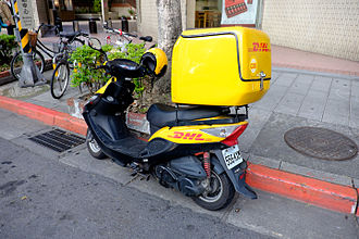 Motorcycle courier - DHL courier scooter in Taipei, Taiwan